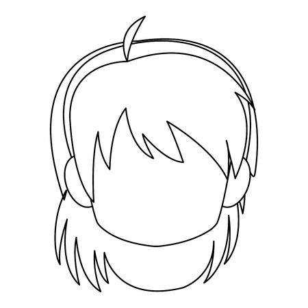 Chibi anime girl avatar contorno por defecto ilustración vectorial Foto de archivo - 80045992