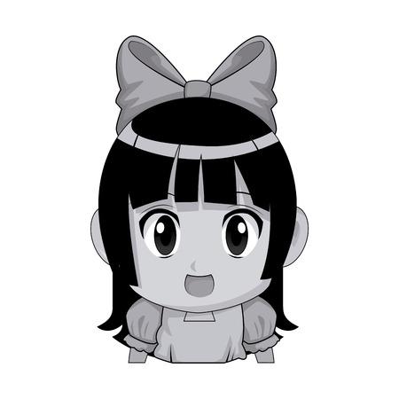 Cute anime chibi girl imagen ilustración vectorial Foto de archivo - 80046144