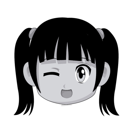 youngster: cute cartoon anime chibi girl image vector illustration Illustration