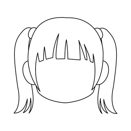 Chibi anime girl avatar contorno por defecto ilustración vectorial Foto de archivo - 80046006
