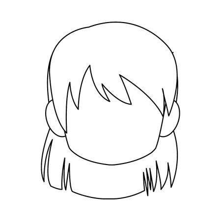 Chibi anime girl avatar contorno por defecto ilustración vectorial Foto de archivo - 80046007