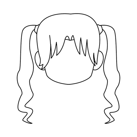 Chibi anime girl avatar contorno por defecto ilustración vectorial Foto de archivo - 80046008