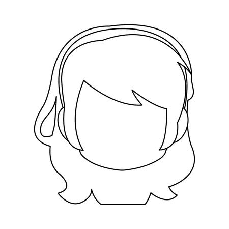 Chibi anime girl avatar contorno por defecto ilustración vectorial Foto de archivo - 80046009