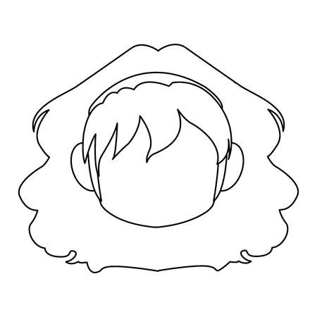 Chibi anime girl avatar contorno por defecto ilustración vectorial Foto de archivo - 80046010