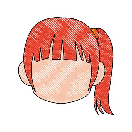 Chibi anime girl avatar contorno por defecto ilustración vectorial Foto de archivo - 80046099