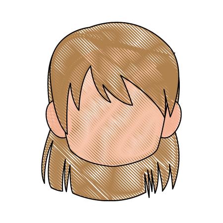 Chibi anime girl avatar contorno por defecto ilustración vectorial Foto de archivo - 80046101