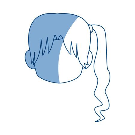 Chibi anime girl avatar contorno por defecto ilustración vectorial Foto de archivo - 80045930