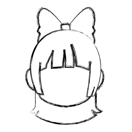 Chibi anime girl avatar contorno por defecto ilustración vectorial Foto de archivo - 80046410