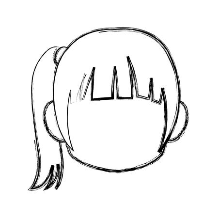 Chibi anime girl avatar contorno por defecto ilustración vectorial Foto de archivo - 80046411