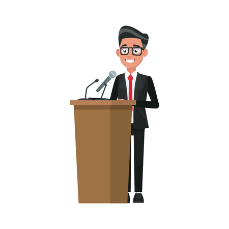 delegar: man in suit politician stands at tribune with microphones and making a speech vector illustration Vectores