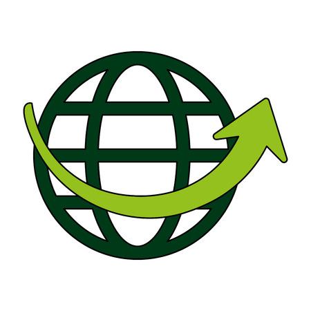 fondo blanco con tierra globo con paralelas y meridianos ilustración vectorial