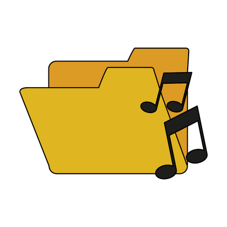 wav: white background with music folder vector illustration Illustration