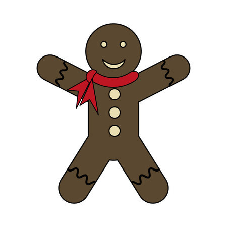 white background with gingerbread man with scarf in neck vector illustration