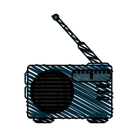 fm: colorful crayon silhouette of portable radio vector illustration Illustration