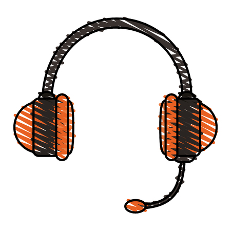 colorful crayon silhouette of handsfree headset vector illustration