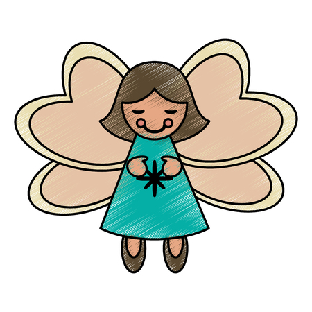colorful crayon silhouette of decorative angel vector illustration Stok Fotoğraf - 80060782
