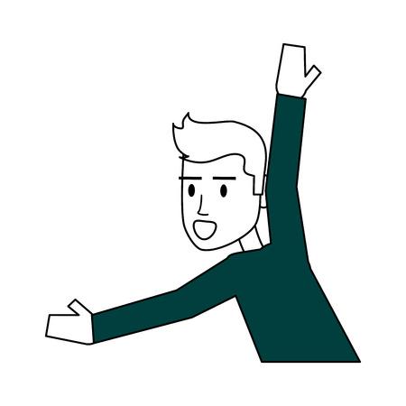 charming: Flat line man icon design. Vector illustration.