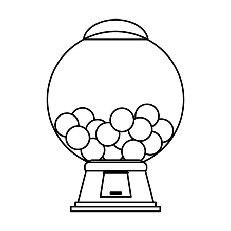 confection: gum balls dispenser candy icon image vector illustration design  black line