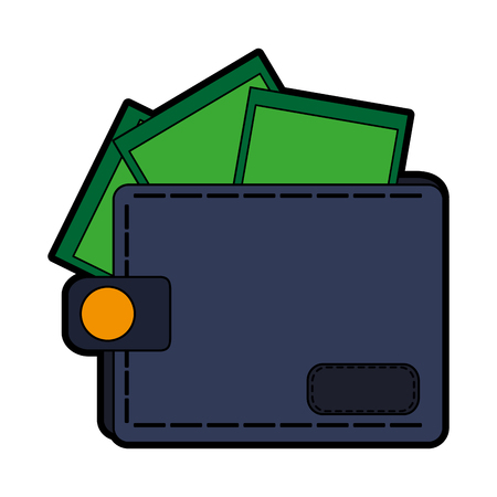 closed wallet with money coming out icon image vector illustration design