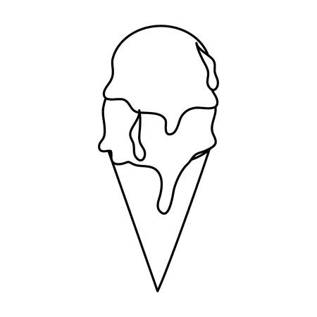 helado cono icono imagen vector ilustración diseño línea negra