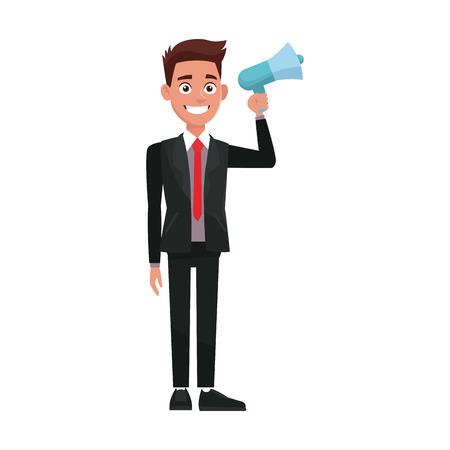political man hold megaphone loudspeaker stand vector Illustration