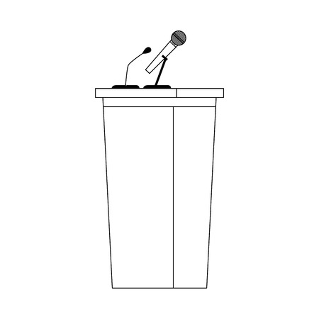 wooden podium tribune stand rostrum with microphone vector illustration Illustration