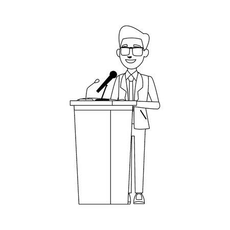 man in suit, businessman or politician stands at tribune with microphones and making a speech vector illustration Ilustração