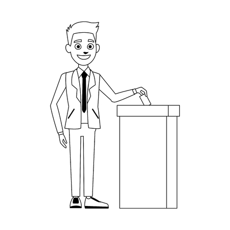 polling booth: man voting at ballot box democracy concept vector illustration