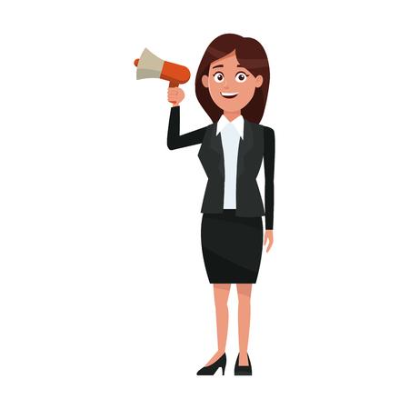 political business woman promoter holding megaphone advertising vector illustration Illustration