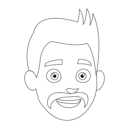 joyful: avatar people man face head character vector illustration