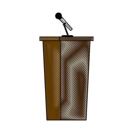 wooden podium tribune stand rostrum with microphone vector illustration Illustration