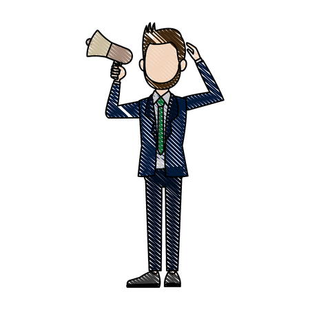 announce: political man hold megaphone loudspeaker stand vector Illustration