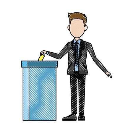 男が投票箱の民主主義概念ベクトル図での投票