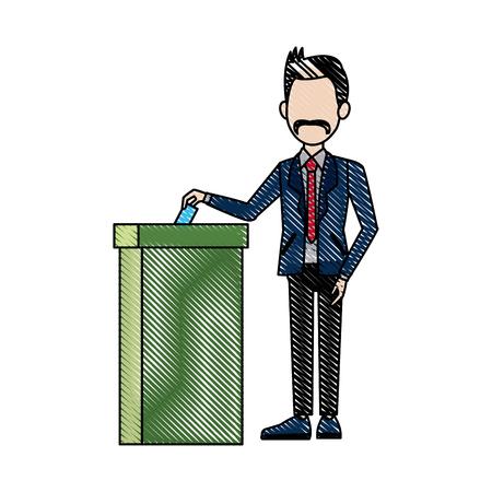 man voting at ballot box democracy concept vector illustration