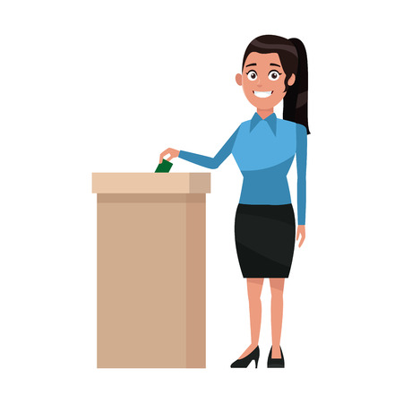 woman putting voting paper in the ballot box vector illustration Illustration
