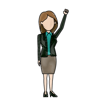 politicians: character woman politician standing wearing skirt vector illustration Illustration