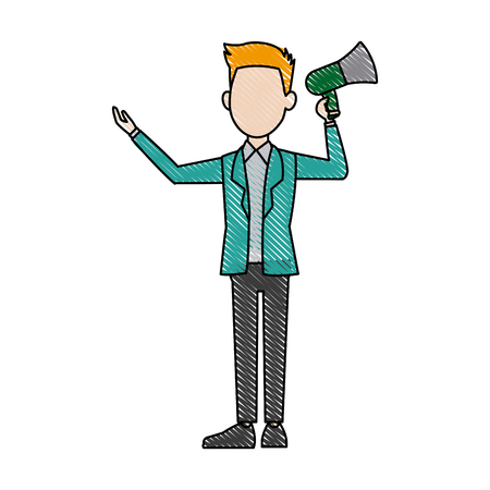 political man hold megaphone loudspeaker stand vector Illustration