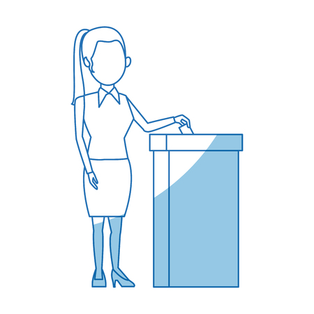 polling booth: cartoon woman vote at ballot box election vector illustration