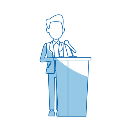 narrator: man in a suit putting paper in the ballot box voting concept vector illustration