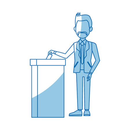 Homme dans un costume mettre papier dans le concept de bulletin de vote vote illustration vectorielle Banque d'images - 80124527