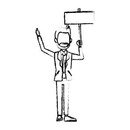 charming: businessman in suit man holding blank billboard vector illustration