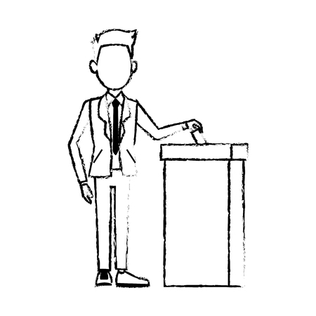 insert: man in a suit putting paper in the ballot box voting concept vector illustration