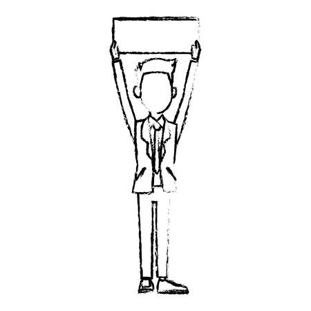 businessman in suit man holding blank billboard vector illustration