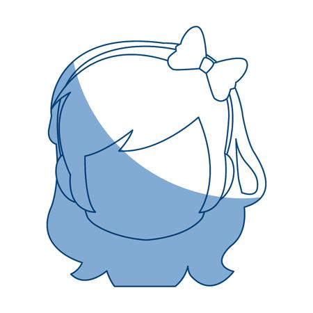 chibi anime girl avatar contour default vector illustration Illustration