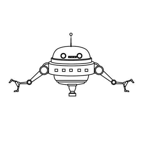 cartoon robot technology futurist innovation icon vector illustration