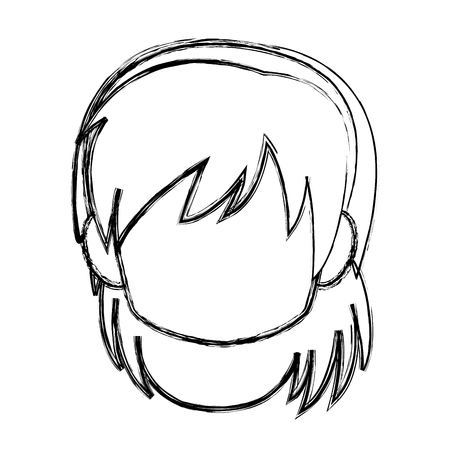 Chibi anime girl avatar contorno por defecto ilustración vectorial Foto de archivo - 80128758