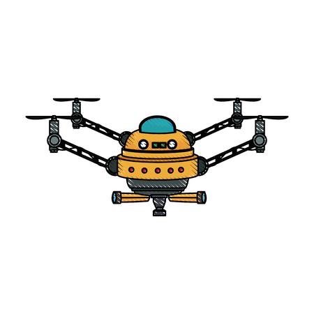 drone fly gadget technology remote propeller innovation vector illustration Illustration