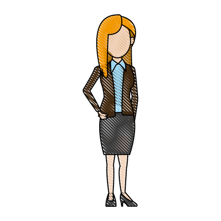 ceo: business woman manager standing gesture vector illustration