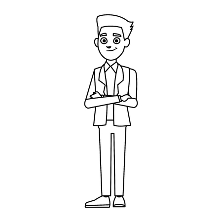 arms folded: young businessman standing with folded arms suit, tie and shirt vector illustration