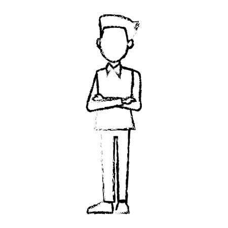 arms folded: young businessman standing with folded arms shirt vector illustration